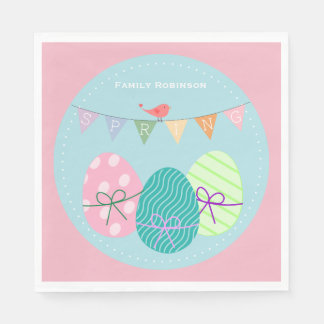 Easter Napkins Personalized Cute Eggs Paper Napkins