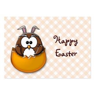 Easter owl gingham - orange large business card