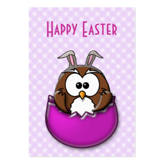 Easter owl - pink large business card