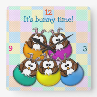 Easter owl - rainbow square wall clock