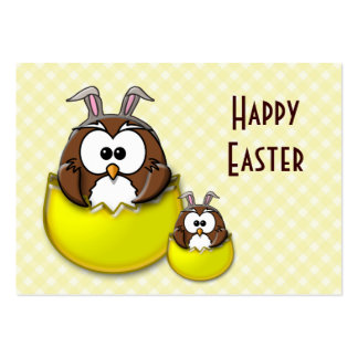 Easter owl - yellow business card