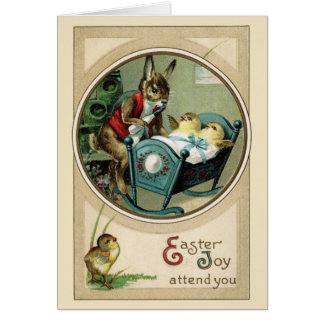Easter Papa Rabbit and Chicks Greeting Card
