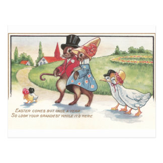 Easter Parade of Rabbits and Ducks Postcard