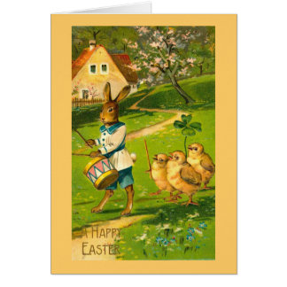 Easter Parade With Rabbit and Chicks Cards