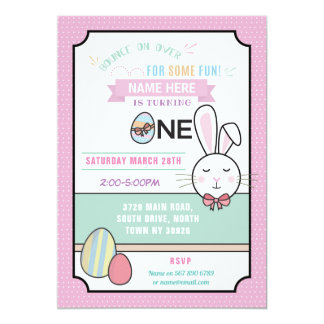 Easter Party Birthday ONE 1st Bunny Invitation