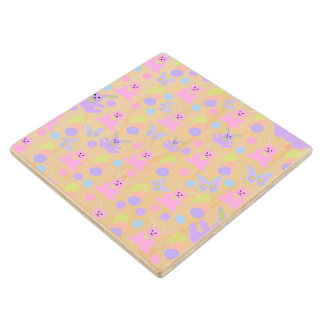 Easter Party Pattern Maple Wood Coaster