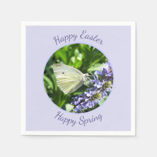 Easter Party White Butterfly Spring Flowers Disposable Napkin