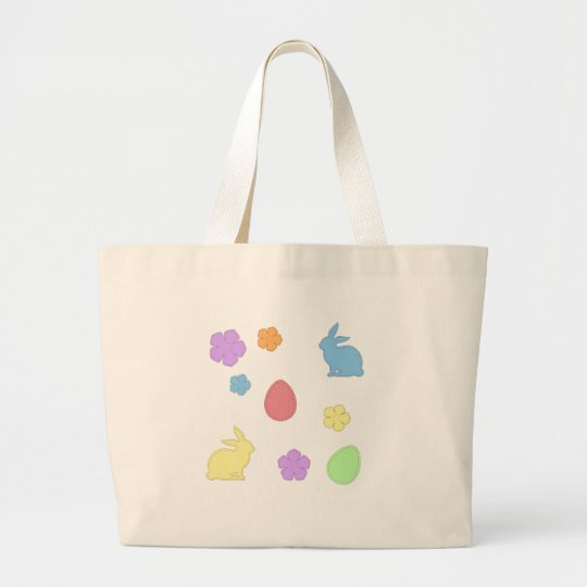 Easter Patches Large Tote Bag