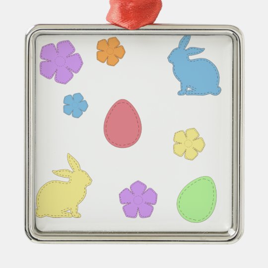 Easter Patches Metal Ornament