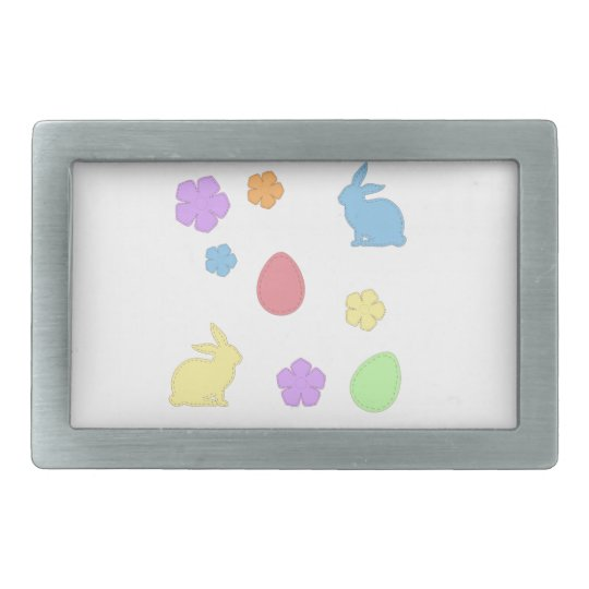 Easter Patches Rectangular Belt Buckle