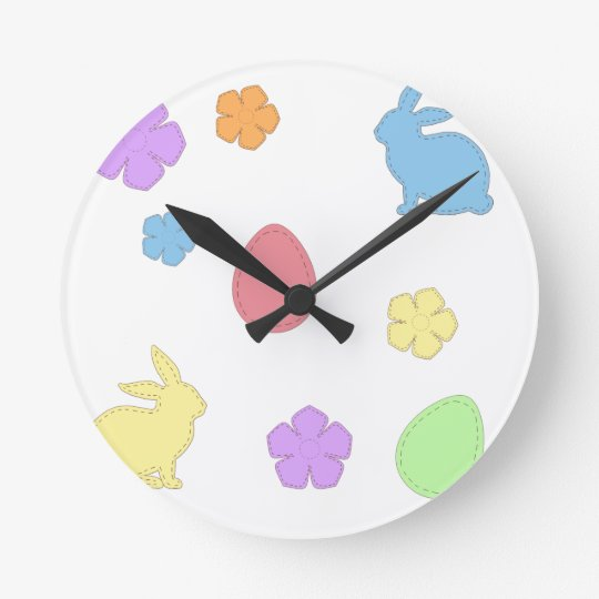 Easter Patches Round Clock