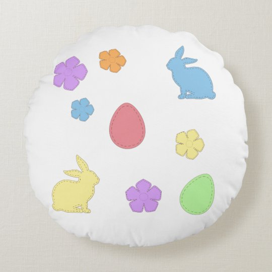 Easter Patches Round Pillow