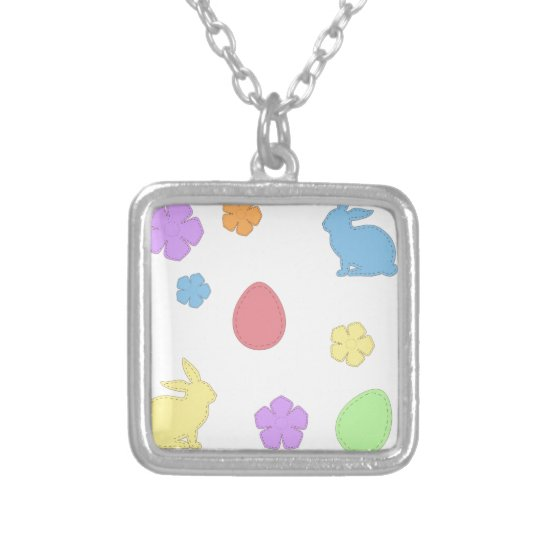 Easter Patches Silver Plated Necklace