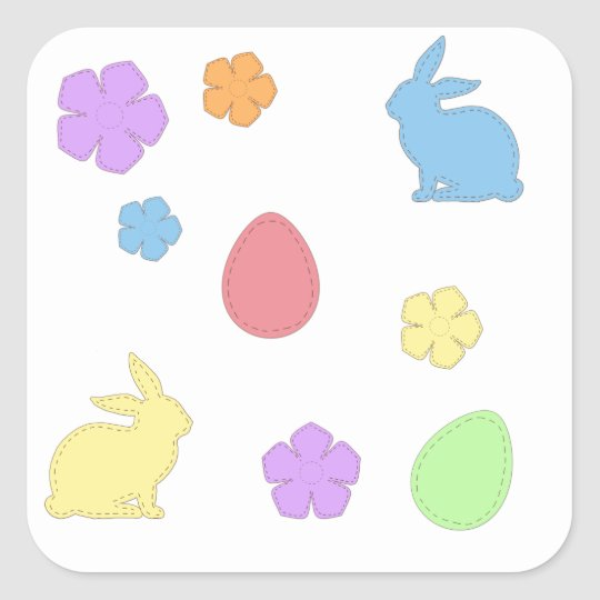 Easter Patches Square Sticker