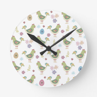 Easter Pattern Round Clock
