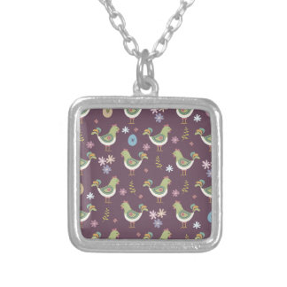 Easter Pattern Silver Plated Necklace