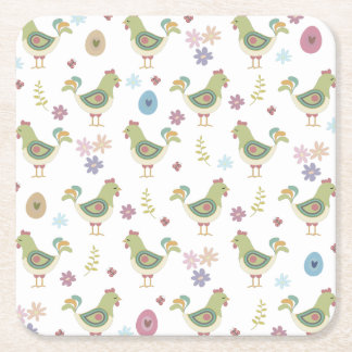 Easter Pattern Square Paper Coaster
