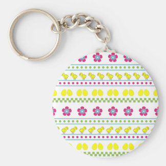 Easter pattern with chiken and eggs on white keychain