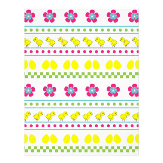 Easter pattern with chiken and eggs on white letterhead
