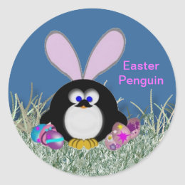 Easter bunny penguin gifts on zazzle ca easter penguin classic round sticker negle Image collections