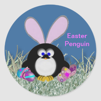 Easter Penguin Classic Round Sticker