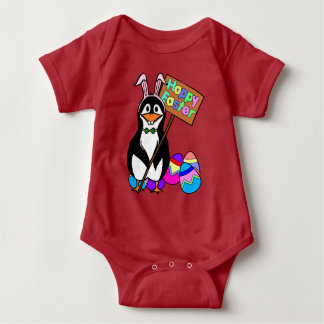 Easter penguin gifts easter penguin gift ideas on zazzle easter penguin with colored eggs baby bodysuit negle Images
