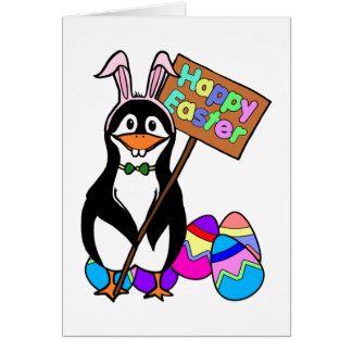 Easter Penguin with Coloured Eggs Card