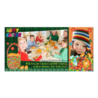 Easter Photo Cards: Easter Eggs & Bunnies Photo Greeting Card