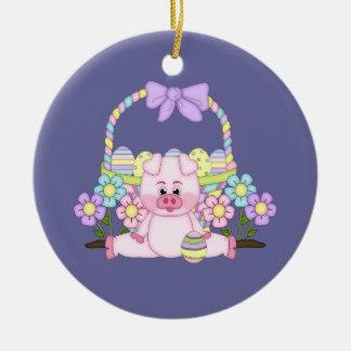 Easter Piggy Ceramic Ornament