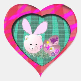 Easter Piggy Heart Sticker