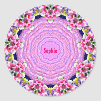 EASTER ~ Pink Pattern ~ Personalised SOPHIE ~ Classic Round Sticker