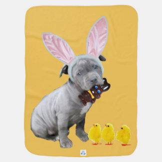 Easter pitbull puppy baby blanket