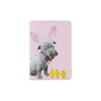 Easter Pitbull puppy dog Passport Holder