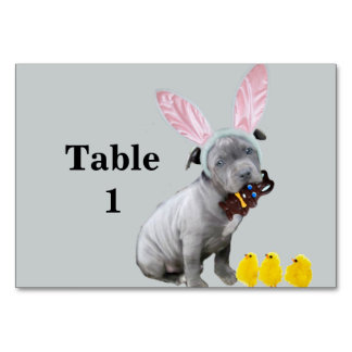 Easter Pitbull puppy dog Table Card