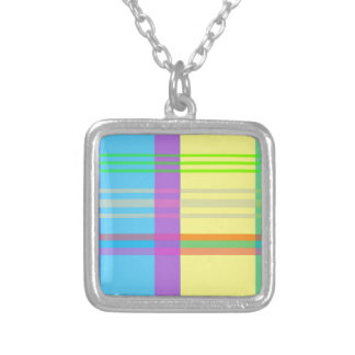 Easter Plaid Silver Plated Necklace