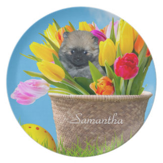 Easter pomeranian puppy personalized plate