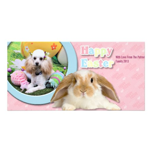 Easter - Poodle - Dolly Customized Photo Card