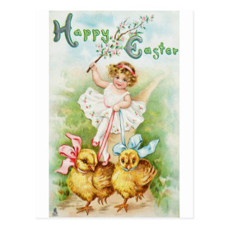 Easter Post Card Girl Riding Chicks