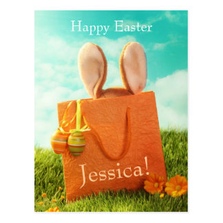 Easter Present with Rabbit and Easter Eggs Postcard