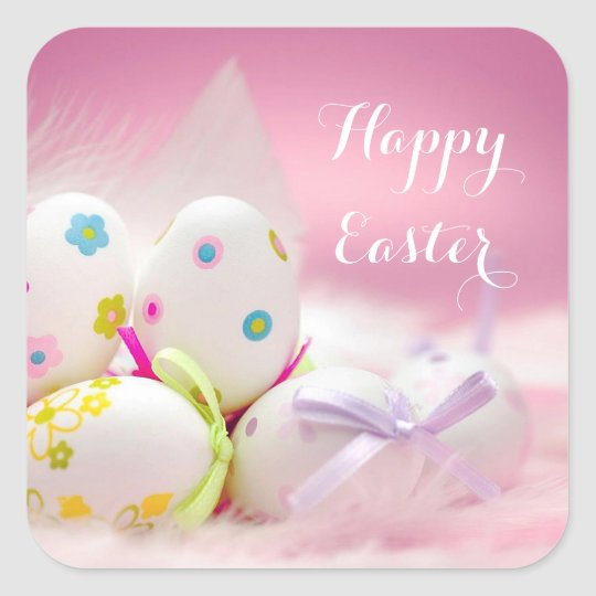 Easter - Pretty Eggs in Pink Square Sticker