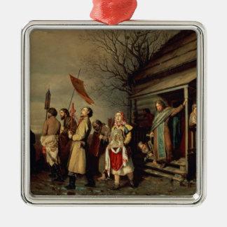 Easter Procession, 1861 Silver-Colored Square Ornament
