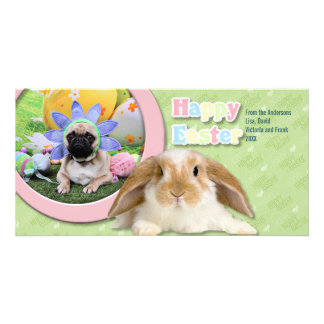 Easter - Pug - Louie Personalized Photo Card