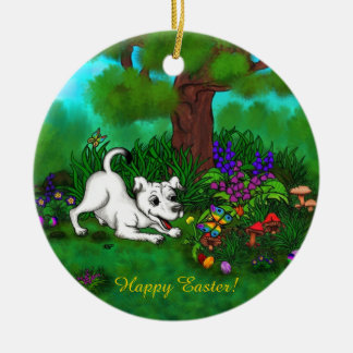 Easter - Puppy Capo and Butterfly Ceramic Ornament