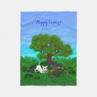 Easter - Puppy Capo and Butterfly Fleece Blanket