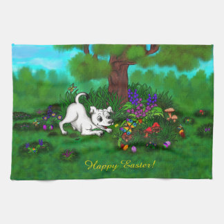 Easter - Puppy Capo and Butterfly Kitchen Towel