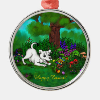 Easter - Puppy Capo and Butterfly Metal Ornament