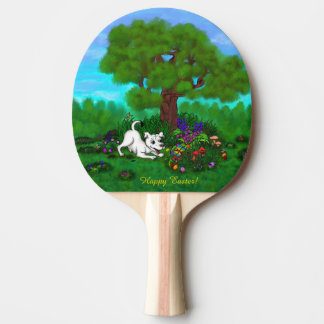 Easter - Puppy Capo and Butterfly Ping Pong Paddle