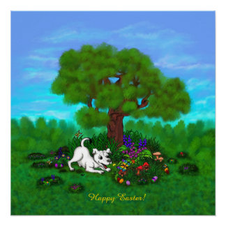 Easter - Puppy Capo and Butterfly Poster