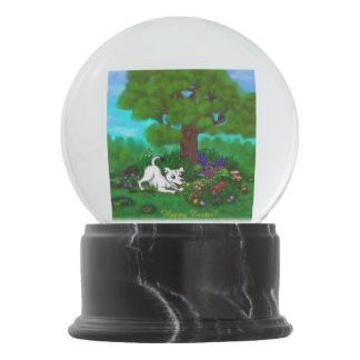Easter - Puppy Capo and Butterfly Snow Globe