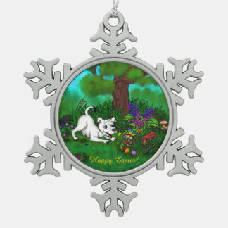 Easter - Puppy Capo and Butterfly Snowflake Pewter Christmas Ornament